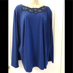 Bob Mackie Royal Blue Embroidered Blouse 2X
